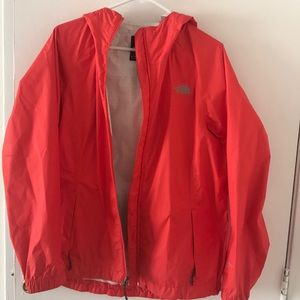 Coral North Face rain jacket! Great condition
